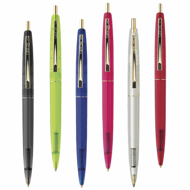 bic clear clics gold pens